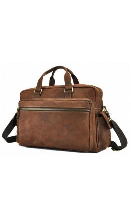Кожаная коричневая мужская сумка для командировок t0018