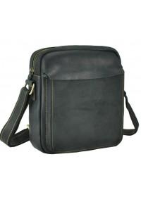 Мужская черная кожаная плечевая сумка t0022A