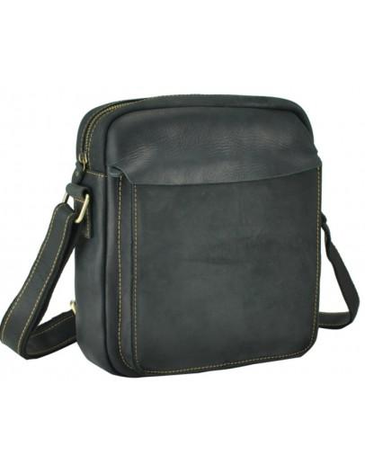 Фотография Мужская черная кожаная плечевая сумка t0022A