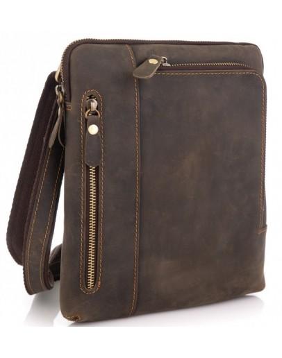 Фотография Кожаная мужская сумка на плечо, коричневая t0030R