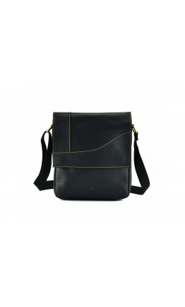 Черная мужская сумка на плечо из плотной кожи t0032A
