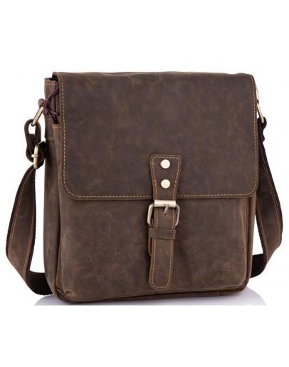 Фотография Кожаная мужская коричневая сумка на плечо Tiding Bag t0047