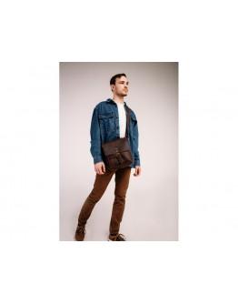 Кожаная мужская коричневая сумка на плечо Tiding Bag t0047