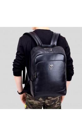 Рюкзак черный мужской кожаный Bull T0330