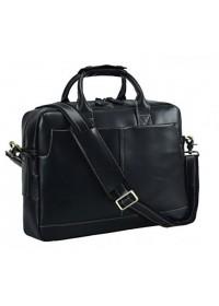 Черная мужская кожаная сумка, вмещает ноут 15.6 t1019A