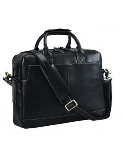 Фотография Черная мужская кожаная сумка, вмещает ноут 15.6 t1019A