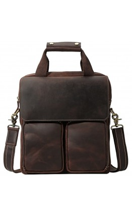 Кожаный удобный коричневый мужской мессенджер t1072