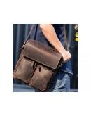 Фотография Кожаный удобный коричневый мужской мессенджер t1072