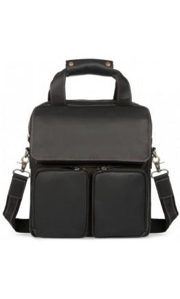 Черный кожаный мужской мессенджер формата А4 t1072A