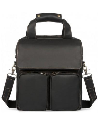 Фотография Черный кожаный мужской мессенджер формата А4 t1072A