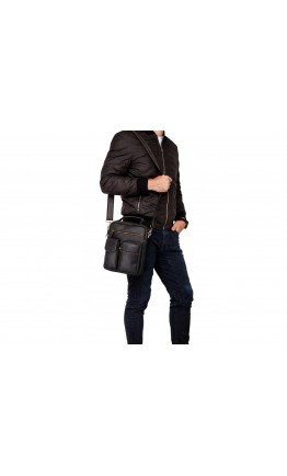 Кожаная мужская черная деловая сумка t1171A