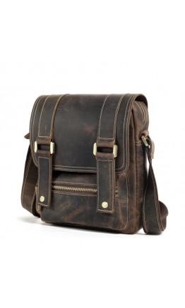 Коричневая компактная мужская кожаная сумка t1172