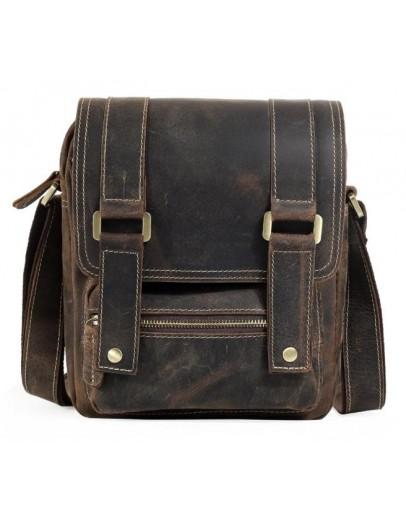 Фотография Коричневая компактная мужская кожаная сумка t1172