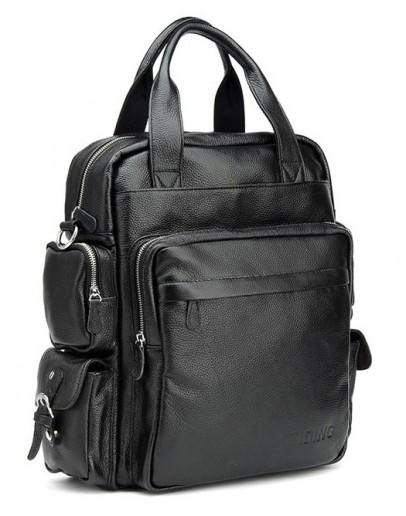 Фотография Универсальная черная мужская сумка рюкзак t3069