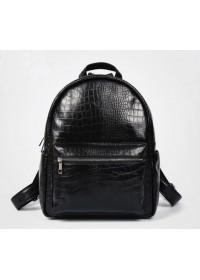 Кожаный черный небольшой мужской рюкзак t3124