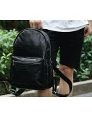 Фотография Кожаный черный небольшой мужской рюкзак t3124