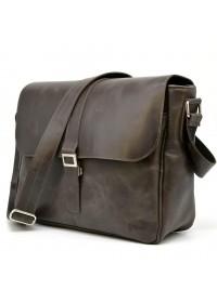 Коричневая вместительная кожаная сумка на плечо Tarwa TC-1046-4lx