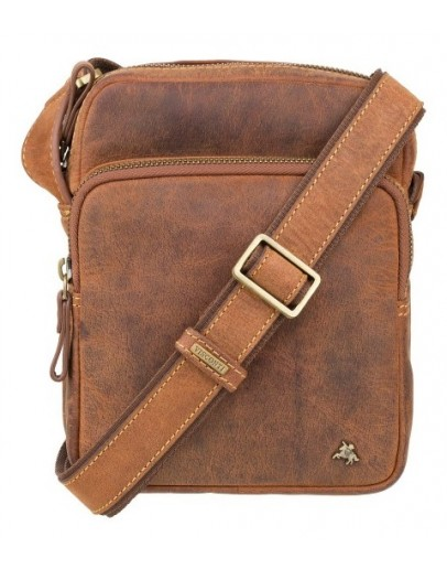 Фотография Кожаная рыжая мужская плечевая сумка Visconti TC68 Riley (Havana Tan)