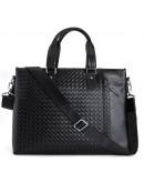 Фотография Кожаная черная сумка мужская для документов и ноутбуков tid1057