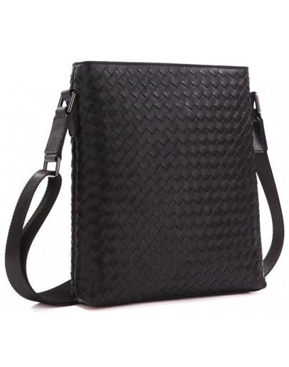 Фотография Мужская кожаная сумка на плечо с плетением tid1144