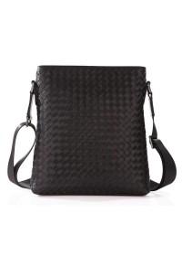 Мужская кожаная сумка на плечо с плетением tid1144