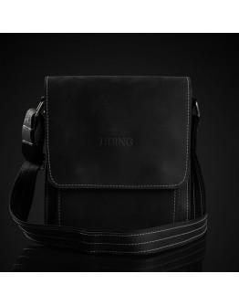 Черная винтажная кожаная сумка на плечо Tiding bag tid3027-22