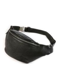 Черная мужская кожаная сумка на пояс Tiding 3036