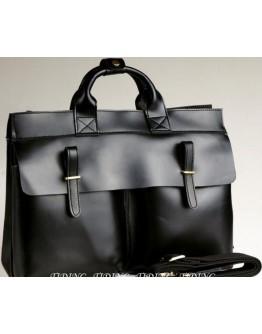 Черная деловая сумка из гладкой кожи Tiding tid9685bk