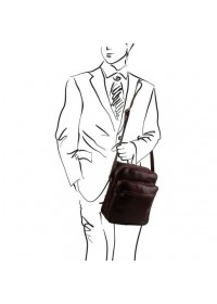 Коричневая вместительная мужская сумка на плечо Tuscany Leather Oscar TL140680