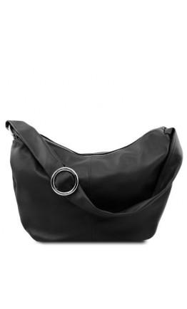 Женская вместительная черная кожаная сумка Tuscany Leather Yvette TL140900