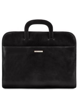Мужская тонкая сумка портфель Tuscany Leather Sorrento TL141022 black