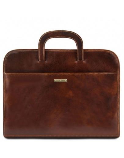 Фотография Мужской тонкий коричневый портфель Tuscany Leather Sorrento TL141022 brown