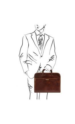 Мужской тонкий коричневый портфель Tuscany Leather Sorrento TL141022 brown