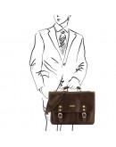 Кожаная коричневая мужская сумка на плечо Tarwa GC-6012-3md
