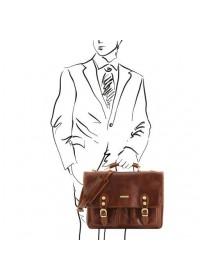 Коричневый мужской оригинальный портфель Tuscany Leather TL141134 brown