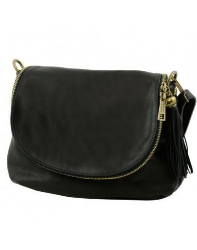 Фотография Черная женская кожаная сумка на плечо Tuscany Leather Bag TL141223