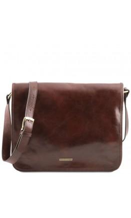 Большой кожаный коричневый мужской мессенджер Tuscany Leather TL141254