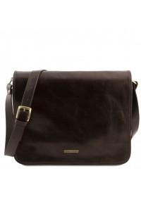 Темно-коричнвая большая фирменная мужская сумка Tuscany Leather TL141254 brownb