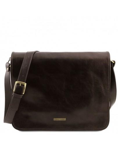 Фотография Темно-коричнвая большая фирменная мужская сумка Tuscany Leather TL141254 brownb