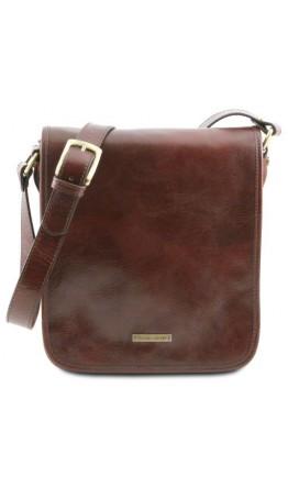 Большой кожаный мессенджер темно-коричневый Tuscany Leather TL141255