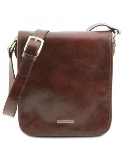 Фотография Большой кожаный мессенджер темно-коричневый Tuscany Leather TL141255