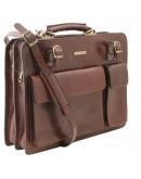 Фотография Кожаный темно-коричневый мужской портфель Tuscany Leather Venezia TL141268 bbrown