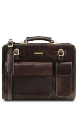 Кожаный темно-коричневый мужской портфель Tuscany Leather Venezia TL141268 bbrown