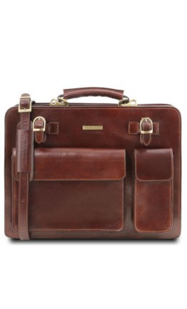 Мужской коричневый фирменный оригинальный портфель Tuscany Leather Venezia TL141268 brown