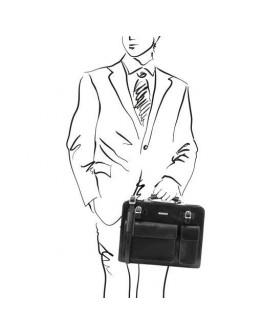 Кожаный черный мужской портфель Tuscany Leather Venezia TL141268 black