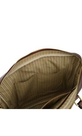 Коричневая фирменная сумка для ноутбука Tuscany Leather Prato TL141283