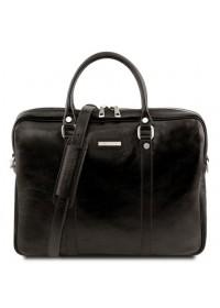 Черная кожаная сумка для ноутбука Tuscany Leather Prato TL141283 black