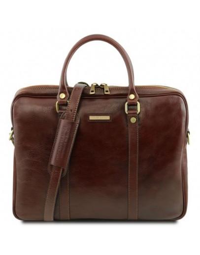Фотография Коричневая фирменная сумка для ноутбука Tuscany Leather Prato TL141283