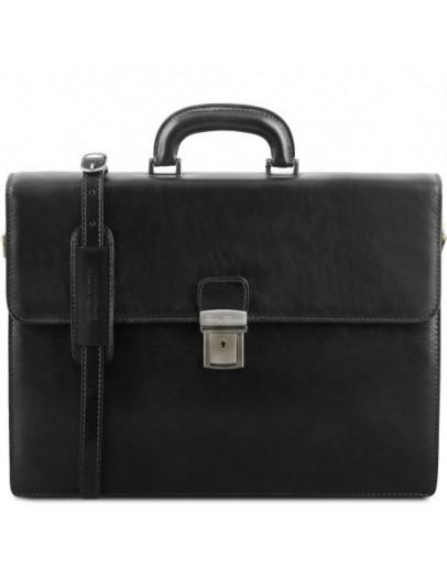 Фотография Черный мужской портфель на 2 отделения Parma Tuscany Leather TL141350