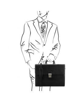 Черный мужской портфель на 2 отделения Parma Tuscany Leather TL141350
